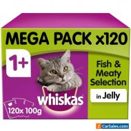 120 x 100g Whiskas 1+ Adult Wet Cat Food Pouches Mixed Fish & Meaty in Jelly