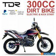 TDR MOTOCROSS 300CC PIT DIRT BIKE TRAIL KICK/ELECTRIC START FARM AG BIKE REC REG
