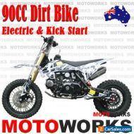 90cc Dirt Trail PIT Bike Motor 2 wheels Electric Start Semi Auto Junior Bike bla